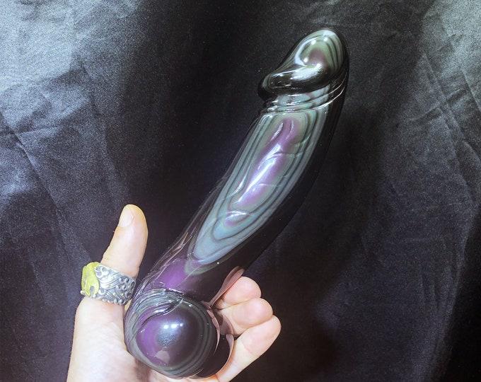 Phallus in obsidian celeste eye. Fully hand-carved. Single Obsidian quality piece A-21cm long 5.41cm in diameter