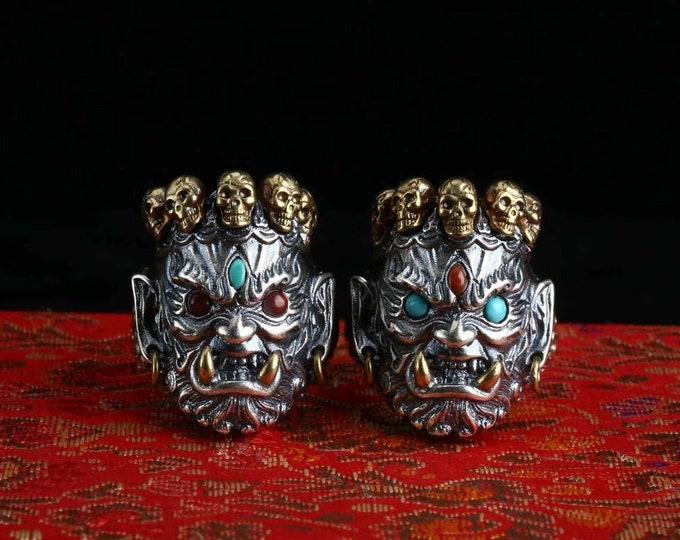 Ring protection Vajrayana Buddhism. Mahakala. Silver 925, copper, Arizona turquoise, agate called nan hong of Yunnan.