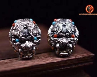 Protective ring feng shui Taoist protection. Guardian demon. yang protection. Silver 925, turquoise copper, agate called nan hong.