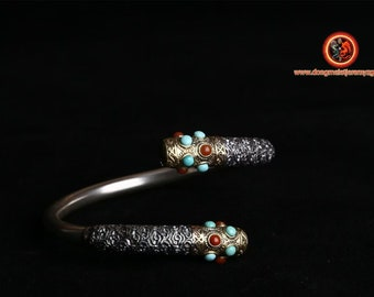 "Bracelet rush, silver 925/1000th. Baton of monkey king Sun Wu Kong. silver, turquoise copper and agate called ""nan hong"""