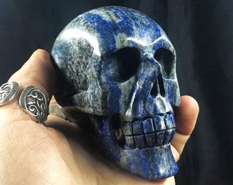 Lapis lazuli crystal skull entirely handmade single piece 8/7.5/5cm 0.610kg