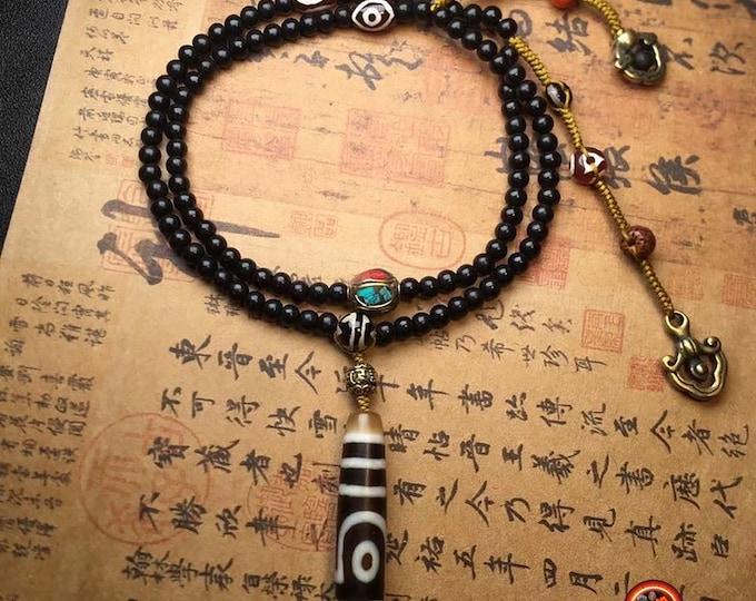 "mala Buddhist rosary 108 black sandalwood beads two-eyed Tibetan sacred agate ""harmony of yin and yang"" authentic DZI, copper"