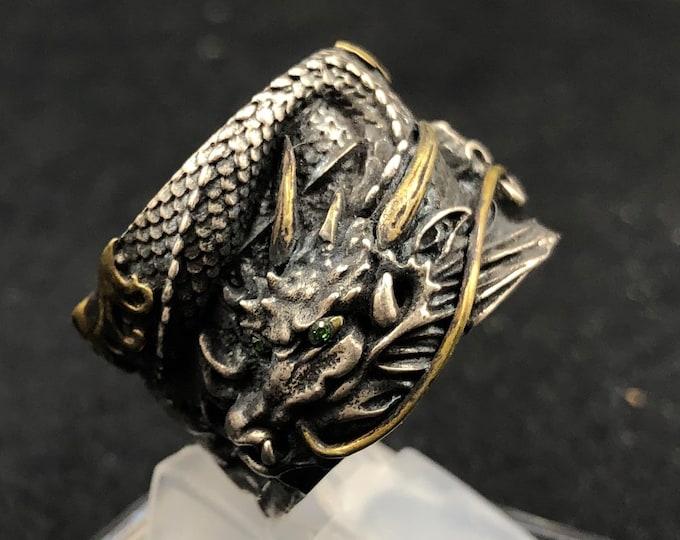 feng shui ring. Silver dragon 925 and copper. Grenat Tsavorite.