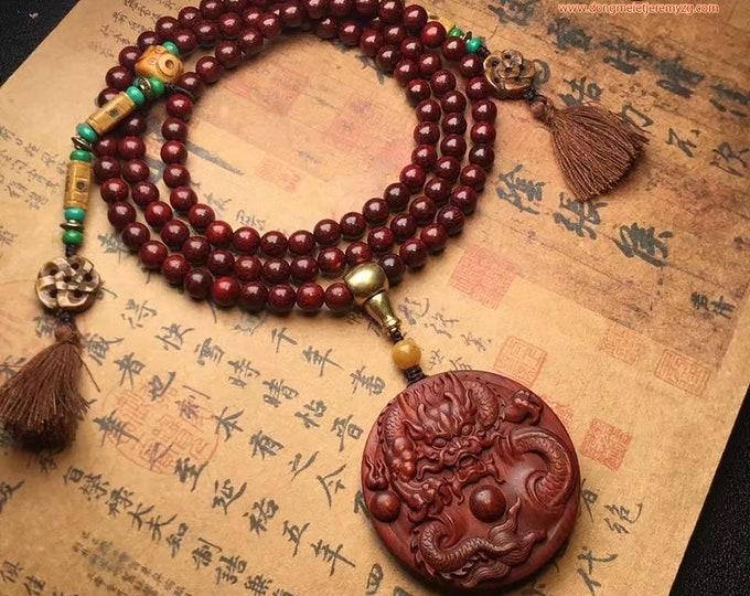 Mala, chapelet de prière et méditation bouddhiste, 108 perles de santal rouge Pendentif Dragon, os, Jaspe, cuivre