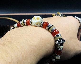 skull bracelet. yak bone, cornaline, silver 925. Phurba Ritual Blade and Double Dorje Tibetan Buddhism