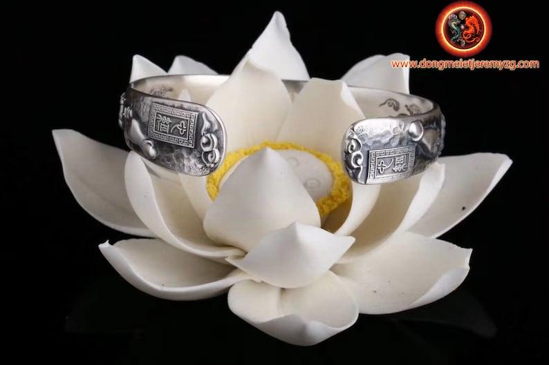 Buddha hand and Udumbara flower 999 silver Buddhist rush bracelet