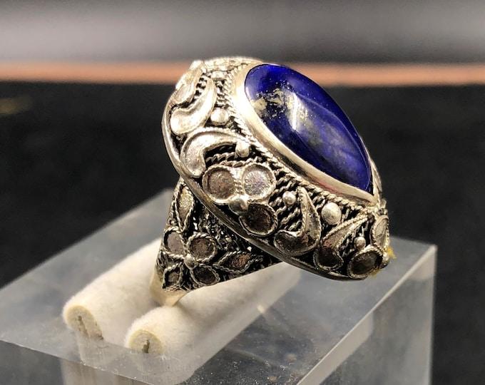traditional ring, Pekinoise jewelry. Lapis lazuli . Silver 925. completely handmade, unique piece