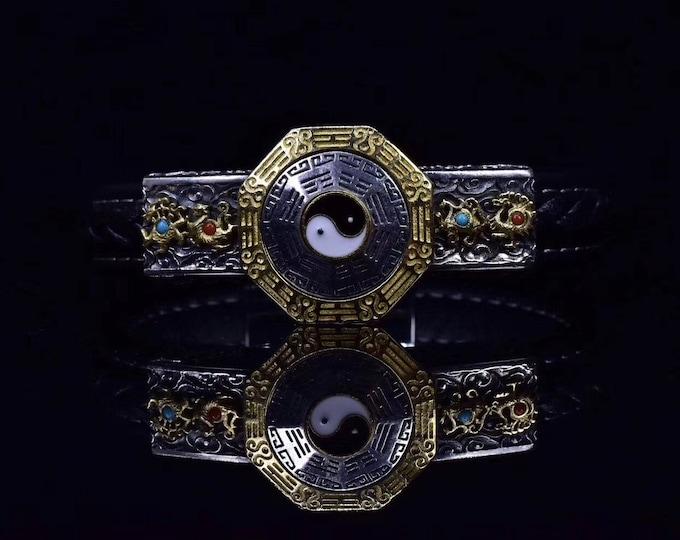 Tao bracelet. Ying Yang, trigrams Bagua. Dragon and PHENIX. The so-called Nan Hong of Yunnan, turquoise of Arizona, braided leather bracelet.
