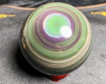sphere in obsidian, obsidian eye celeste quality A +. 0.792 kg 9 cm in diameter. Natural obsidian, Mexican obsidian.