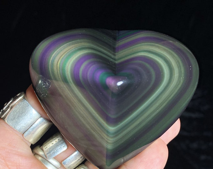 Exceptional heart in obsidian eye celeste rare quality collection. 0.234kg 69/80/40mm. Originally from Mexico
