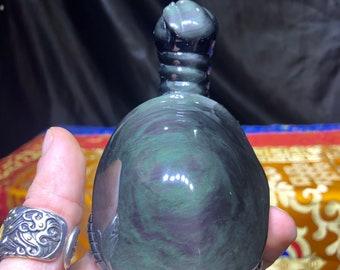 sculpture, tortoise in obsidian eye celeste called mentogoshol. Feng shui statuette, entirely handmade. one-of-a-kind piece.