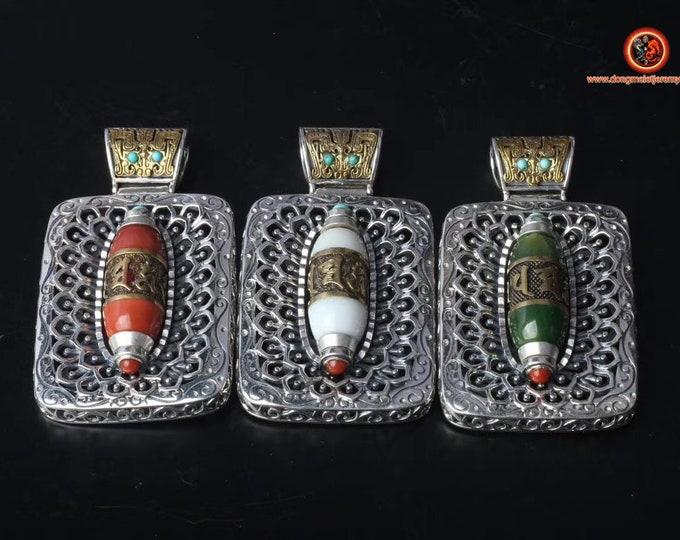 Pendant, Tibetan Buddhism, DZI inspiration (Tibetan sacred agate) mantra of compassion, silver 925, copper, jade or nan hong.