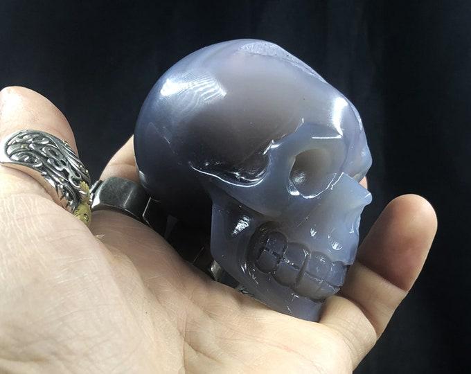 Crystal skull. hand-carved skull. Quartz geode on agate and rock crystal gangue. Unique Piece 7/5/3.5cm 0.245kg