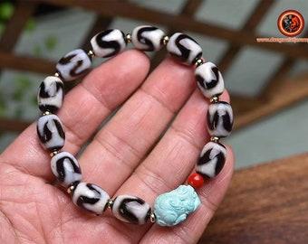 Bracelet, DZI, authentic and real, Tibetan sacred agates. DZI tiger teeth. Pixiu in certified turquoise. Tibetan bracelet.