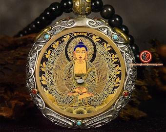 Amulette protection bouddhisme tibétain Bouddha Amitabha argent 925. thangka peint à la main roue  tournante au verso, mala 108 perles