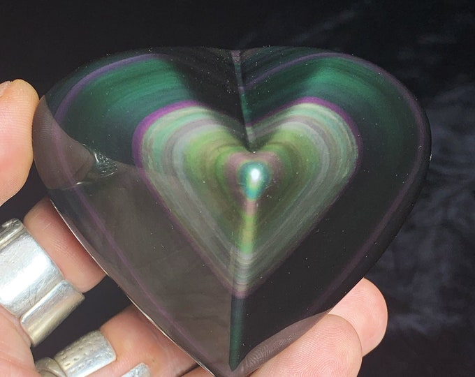 Exceptional heart in obsidian eye celeste rare quality collection. 0.258kg 66/78/46mm. Originally from Mexico