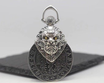 Traditional Taoist pendant of exorcism and good fortune. Kirin double-sided. Silver 925.