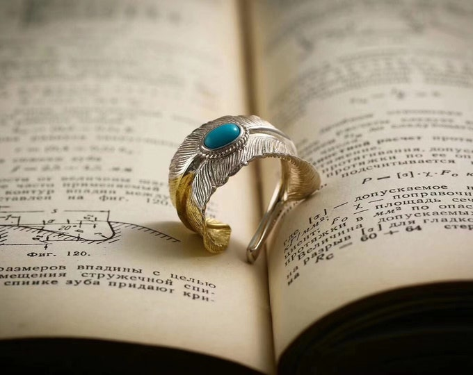 silver eagle wing ring 925, turquoise copper from Arizona.