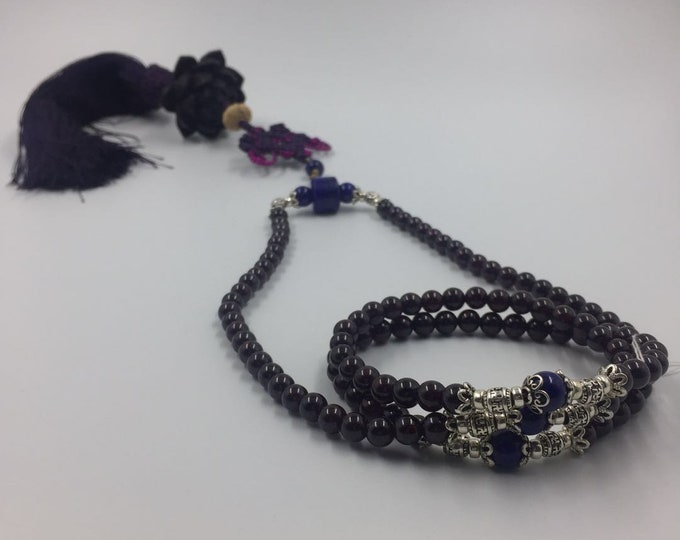 Mala Garnet Pyrope, lapis lazuli, 925 Silver/1000th, ebony Lotus Flower, infinity knot