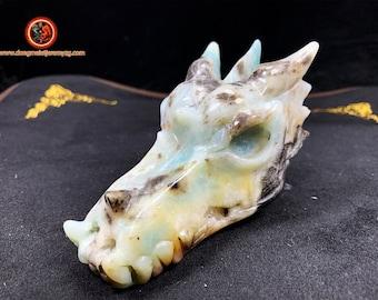 dragon. Dragon crane. Dragon tete, Central Asian amazonite. Dragon carved by hand. Unique piece. Sun: 106.28/ 55.30/ 57.80mm