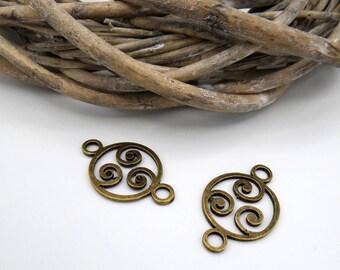 2 round connectors ethnic style bronze metal