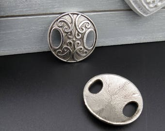 2 connectors round Tibetan style large hole silver 26 mm