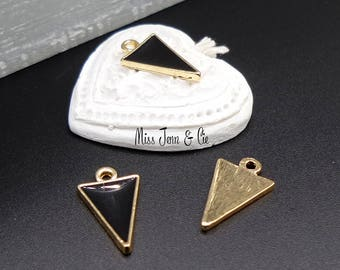 4 charms enameled triangle geometric gold black 17mm x 10mm