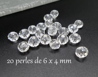 Abacus 6 clear Austrian Crystal faceted glass beads 20 x 4 mm
