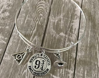 Magical Bangle, Wizard Bracelet, Wizard School Bracelet, Literary Bangle, Bookish Gift, Book Nerd, Bravery, Cunning, Wisdom, Loyalty