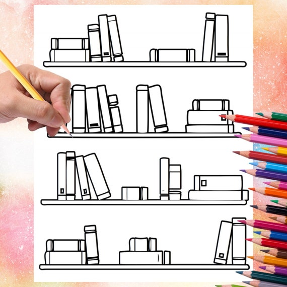 Bookshelf Coloring Page Books Fairytale