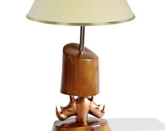 Double Rhino Head Table Lamp
