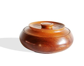Round Iroko Bread Box