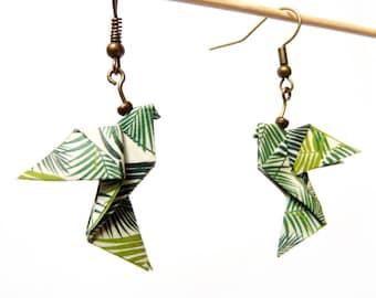 Origami jungle dove earrings