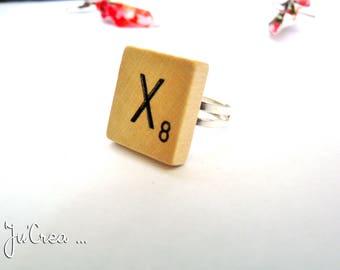 Bague Lettre Scrabble en bois
