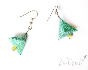 Origami earrings geometric triangle turquoise Green