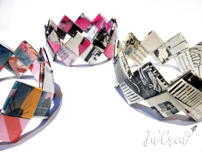 Set parure necklace and bracelet origami geometric purple tones