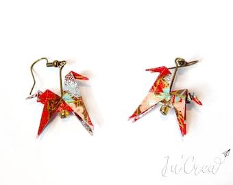 Origami Red Horse earrings