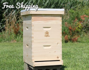 Bee Hive 10 Frame Langstroth - 2 Deep Brood & 1 Medium Super Boxes includes Frames / Foundations