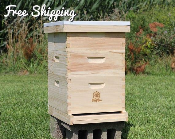 "NEW BEE HIVE BOX FAST SHIPPING! MEDIUM 8 FRAME BROOD HONEY SUPER 6 5//8/"" DEEP"