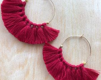Hoop earrings HOOP gold PomPoms Burgundy