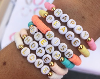 Personalized SUMMER bracelets letter beads