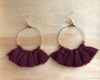 Hoop earrings gold Gold Filled purple tassels and Golden beads