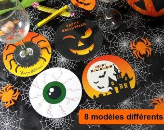 Set of 4 Round glass underside Halloween coaster coaster under bock Halloween party decoration of pumpkin table graveyard morbid head spider