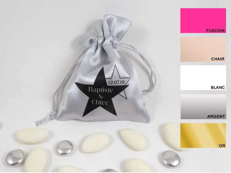 e211bebcbd5f6 Set of 5 personalized favors bags pouches customizable wedding containing  sweets fabric wedding stars small guest gift bag