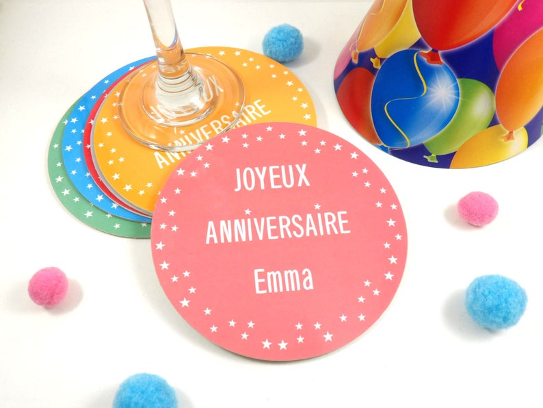 Happy Birthday Name Coaster Personalized Table Decoration