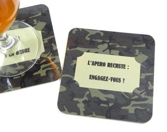 Alcohol man coasters gift funny coaster military camouflage coasters drink recruits, you agree! magnetic coasters