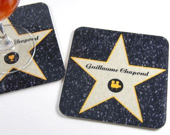 Original gift mark up movie star in Hollywood customizable coasters name