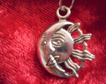 Sun and moon charm pendant necklace
