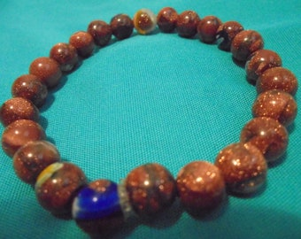Very unique brown and colorful beaded bracelet