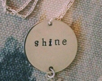 Starlight, Starbright silver personalized disc pendant with small star drop charm.